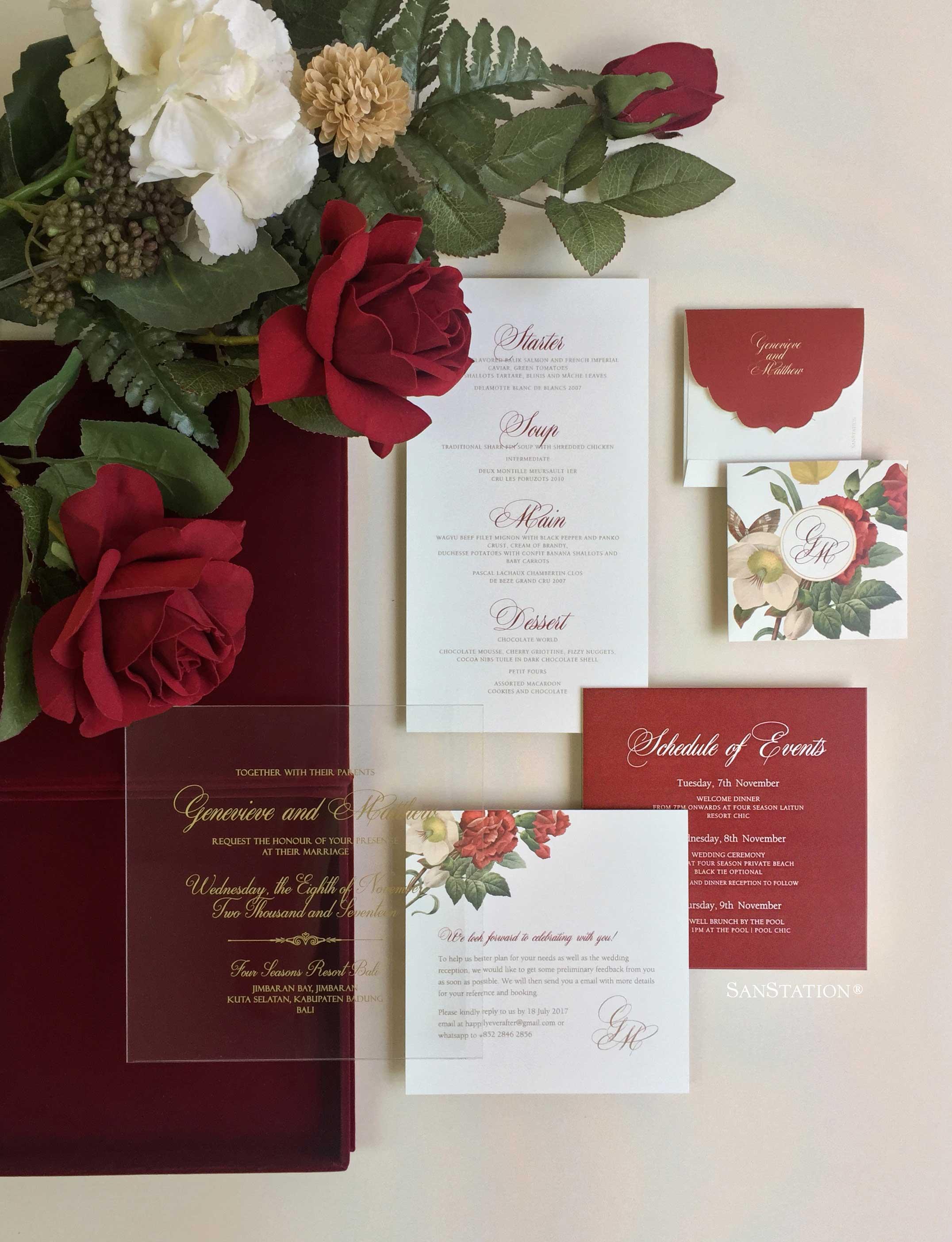 Acrylic invitation in luxury velvet box   Genevieve & Matthew